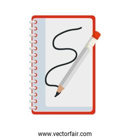 notepad office with pencil isolated icon