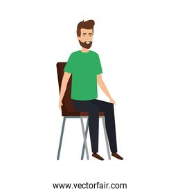 young and casual man sitting in chair