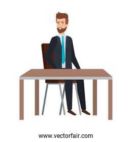 young businessman sitting in chair and table