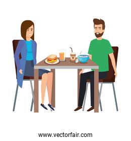 young couple eating in table characters