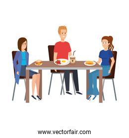 young people eating in table characters