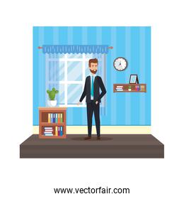 young businessman in home place