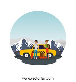 tourist couple with suitcases in taxi characters