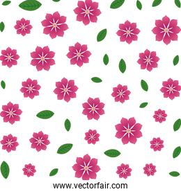 beautiful flowers and leafs pattern
