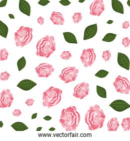 beautiful roses and leafs pattern