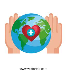 hands lifting world planet and heart cardio