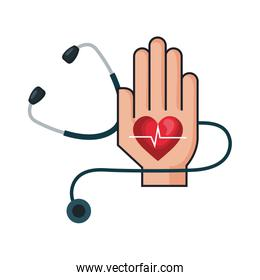 hand with heart cardio and stethoscope