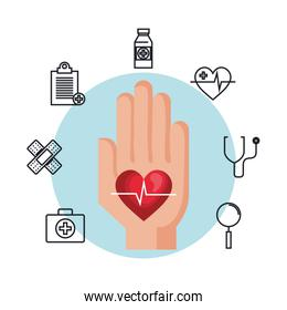 hand with heart cardio and icons