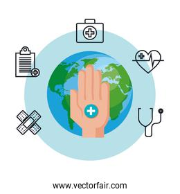 hand with world health day and medical icons