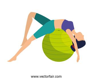 woman practicing yoga position with balloon
