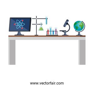 laboratory desk workplace icons