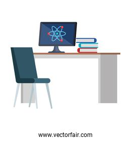 computer with atom molecule in desk and books