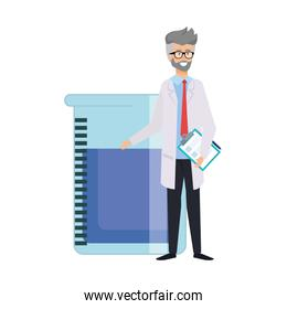 professional doctor with test flask avatar character