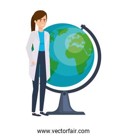 professional female doctor with world planet
