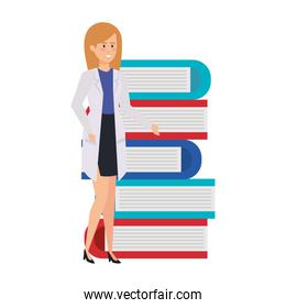 professional female doctor with text books