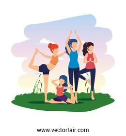 group of women practicing yoga position in the camp