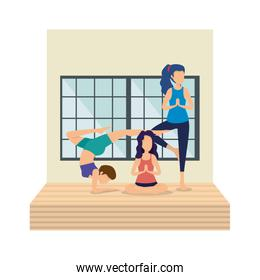 group of women practicing yoga position in the floor