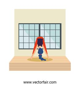 woman practicing yoga position in the room