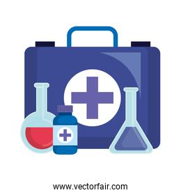 medical kit with tube test and bottle drugs