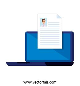 laptop with doctor curriculum vitae document
