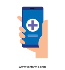 hand using smartphone with medical cross telemedicine