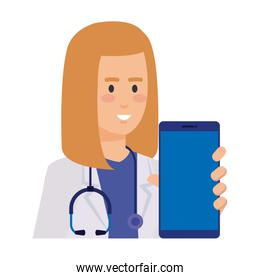 professional female doctor with smartphone telemedicine