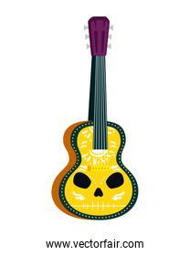 acoustic mexican guitar with skull paint