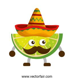 lemon with mexican hat and mustache