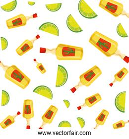 tequila bottles and lemons fruits pattern