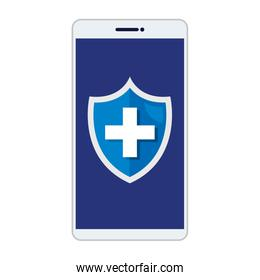smartphone with medical cross in shield