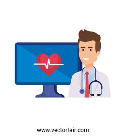 professional doctor with computer telemedicine service