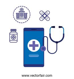 smartphone with medical cross and telemedicine icons