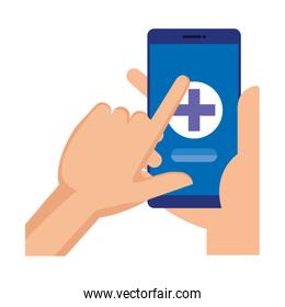 hands using smartphone with medical cross telemedicine