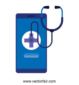 smartphone with medical cross and stethoscope