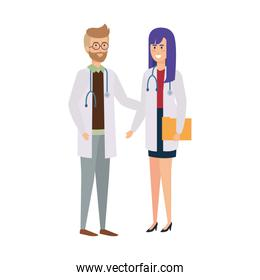 couple of professionals doctors avatars characters