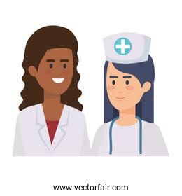 professionals female doctor and nurse characters
