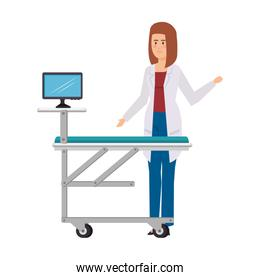 female doctor with monitor in stretcher