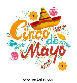 cinco de mayo calligraphy card with flowers