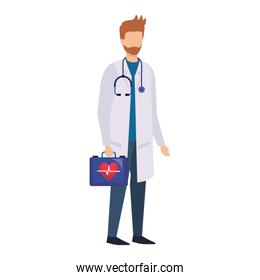 doctor with stethoscope and medical kit