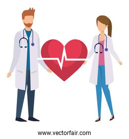 couple of professionals doctors with heart cardio