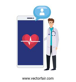 professional doctor with smartphone and speech bubble