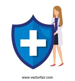 female doctor with stethoscope and medical shield