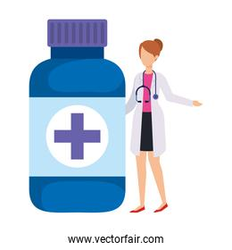 female doctor with stethoscope and bottle drugs