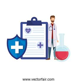 doctor with stethoscope and order