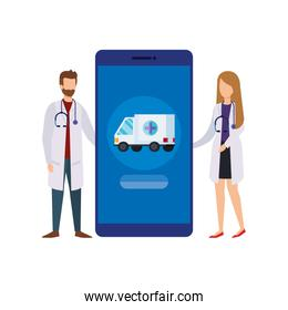 doctors with smartphone and ambulance service