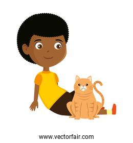 cute little black boy with kitty