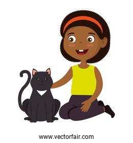 cute little afro girl with kitty isolated icon