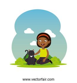 cute little black girl with kitty