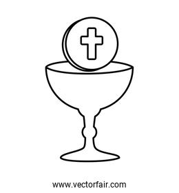 first communion in chalice linear style