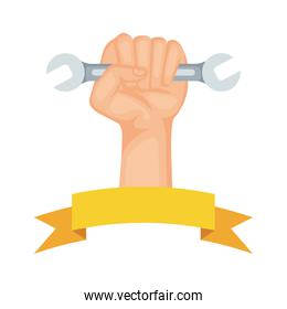 hand with wrench key tool icon